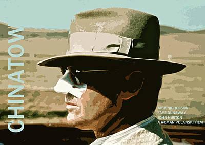 Jack Nicholson Mixed Media - Chinatown, 1974, Jack Nicholson, Faye Dunaway, John Huston, Minimalist Movie Poster by Thomas Pollart
