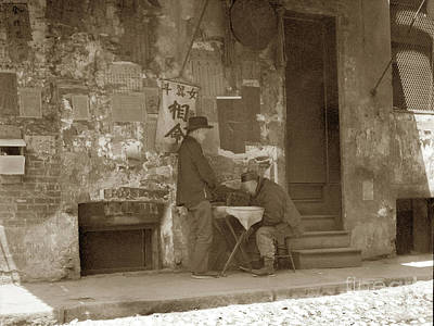 Photograph - Chinatown -  Chinese Men Letter Writer, San Francisco Circa 1900 by California Views Mr Pat Hathaway Archives