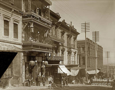 Photograph - Chinatown - Clay Street Toward Dupont Street Chainatown San Francisco 1900 by California Views Mr Pat Hathaway Archives