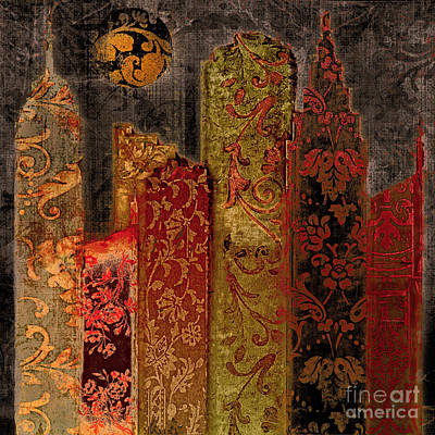 Chinatown Painting - Chinatown Damask Skyline by Mindy Sommers