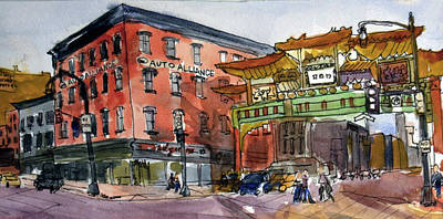 Wall Art - Painting - Chinatown In Dc by Elissa Poma