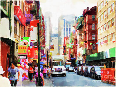 Painting - Chinatown In New York by Lanjee Chee