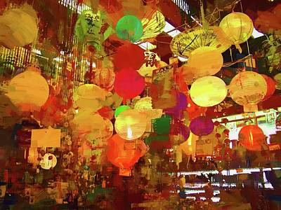 Photograph - Chinatown Lanterns Abstracted by Alice Gipson