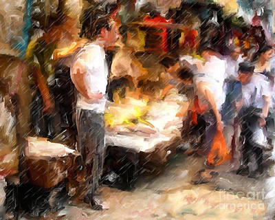 Chinatown Rain Art Print by Marilyn Sholin