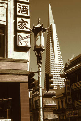 Photograph - San Francisco Chinatown And Pyramid by Art America Gallery Peter Potter