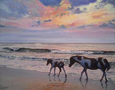 Painting - Chincoteague Horses by Paul Emig