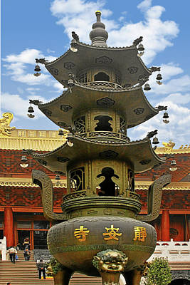 Golden Photograph - Chinese Ancient Relics - Bronze Cauldron Jing'an Temple Shanghai by Christine Till