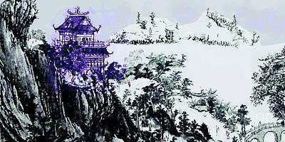Mixed Media - Chinese Art - Winter Landscape Scene by Merton Allen