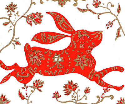 Drawing - Chinese Astrology Rabbit by Barbara Giordano