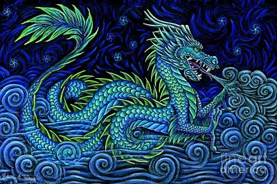 Pastel - Chinese Azure Dragon by Rebecca Wang