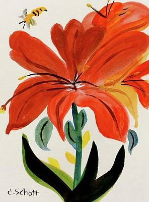 Painting - Chinese Brush Work Bee And Flower by Christina Schott