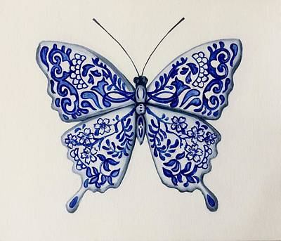 Chinese Ceramics - Butterfly 1 Original by Clara Yang