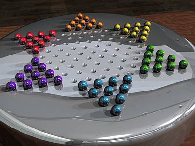 Digital Art - Chinese Checkers by James Barnes