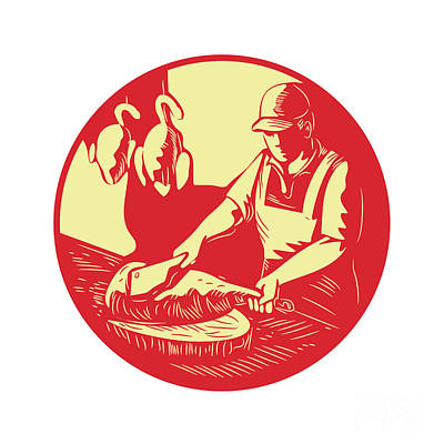 Chinese Cook Chop Meat Oval Circle Woodcut Print by Aloysius Patrimonio