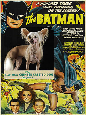 Painting - Chinese Crested Art - Batman Movie Poster Art by Sandra Sij