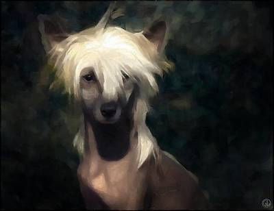 Pet Portraits Digital Art - Chinese Crested Dog by Gun Legler