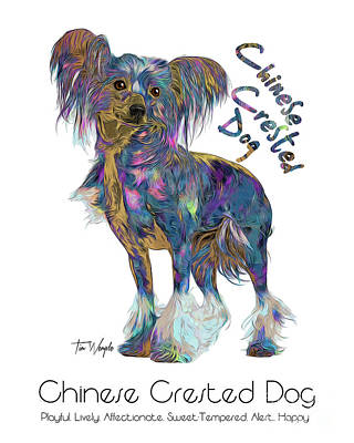 Digital Art - Chinese Crested Dog Pop Art by Tim Wemple