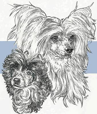 Mixed Media - Chinese Crested Powderpuff And Pup by Barbara Keith