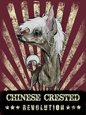 Cartoon Drawing - Chinese Crested Revolution by John LaFree
