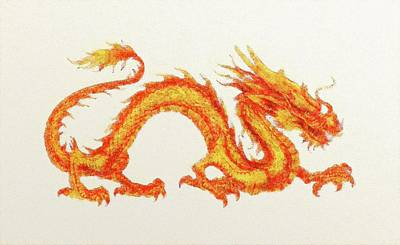 Mixed Media - Chinese Dragon. by Anton Kalinichev