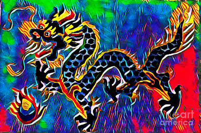 Mixed Media - Chinese Dragon by Lita Kelley