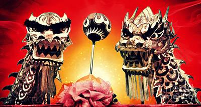 Digital Art - Chinese Festival Dragons by Ian Gledhill