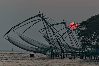 Ocean At Sunset Photograph - Chinese Fishing Nets, Cochin by Marion Galt