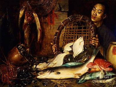 Painting - Chinese Fishmonger by Pg Reproductions