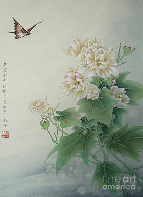 Fauna Painting - Chinese Flower With Butterfly by Birgit Moldenhauer