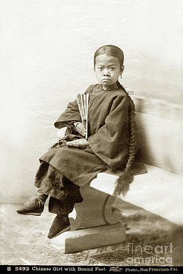 Photograph - Chinese Girl With Bound Feet Circa 1880 by California Views Mr Pat Hathaway Archives