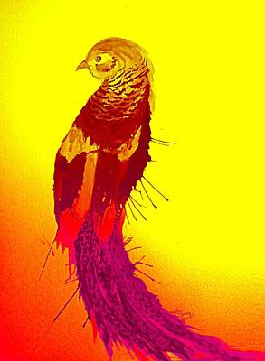 Painting - Chinese Golden Pheasant 2 by Ellen Levinson