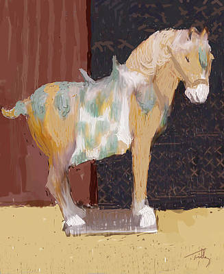 Painting - Chinese Horse Facing Right by Thomas Tribby