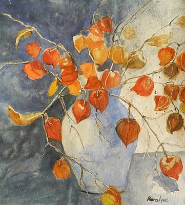 Stil Life Painting - Chinese Lanterns In A Vase by Maria Karalyos