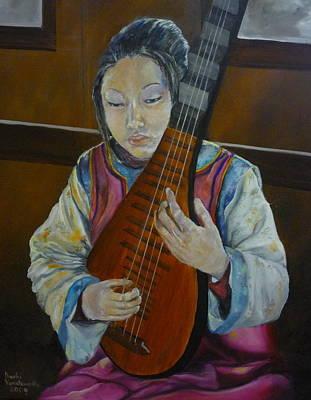 Chinese Lute Player Original by Barbi Vandewalle