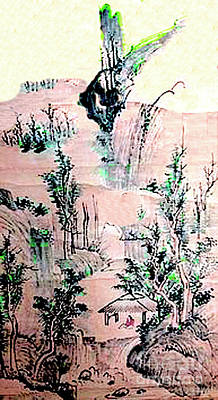 Painting - Chinese Mountain Campsite - Chinese Watercolor by Merton Allen