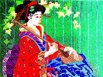 Photograph - Chinese Needlework - Geisha Playing Music by Merton Allen