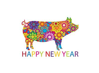 Rock Royalty - Chinese New Year Colorful Pig Illustration by Jit Lim