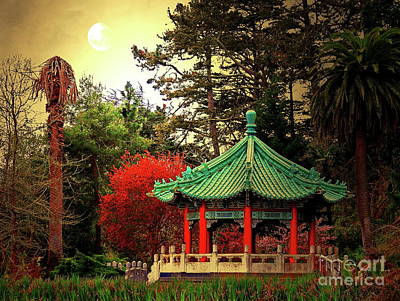 Photograph - Chinese Pavilion Under Golden Moonlight by San Francisco Art and Photography