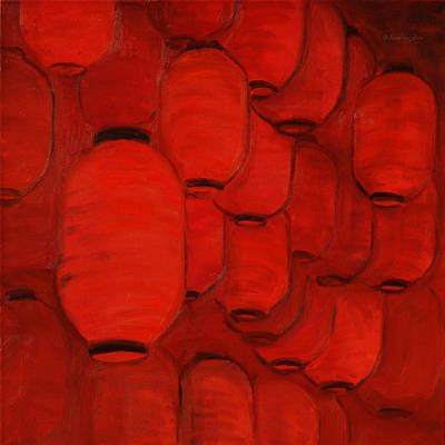 Painting - Chinese Red Lanterns by Xueling Zou