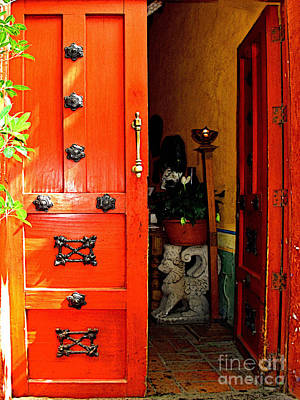 Chinese Red Shop Door Art Print by Mexicolors Art Photography