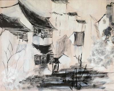 The Verve Painting - Chinese Rural Vilage by J j Jin