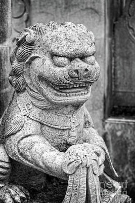 Scupture Photograph - Chinese Stone Lion by Delphimages Photo Creations