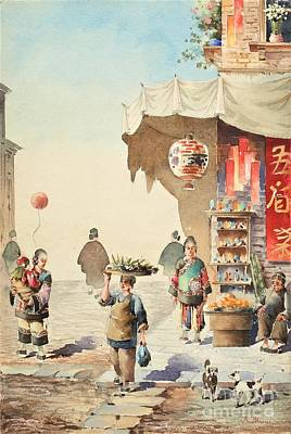 Painting - Chinese Street Scene by Pg Reproductions