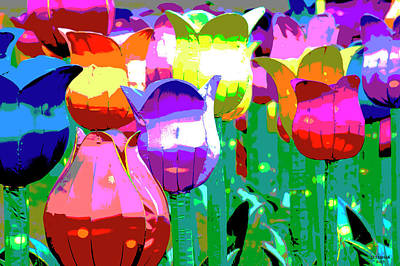 Digital Art - Chinese Tulips 2 by David Stasiak