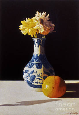 Painting - Chinese Vase And Orange by Daniel Montoya