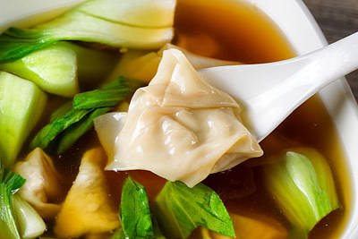 Chinese Wanton Soup With Bok Choy Ready To Eat  Art Print by Thomas Baker