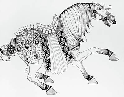 Animals Drawings - Chinese War Horse 2 by Jani Freimann