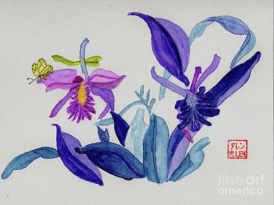 Painting - Chinese Watercolor - Flowers And Butterfly by Merton Allen
