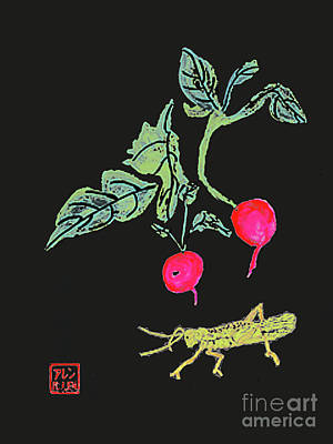Painting - Chinese Watercolor - Radishes And Grasshopper by Merton Allen