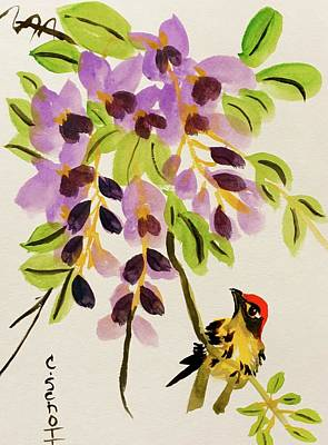 Chinese Wisteria With Warbler Bird Art Print
